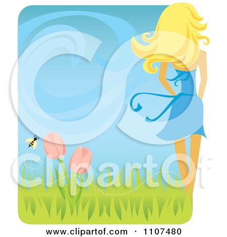 Clipart Rear View Of A Slender Blond Woman With A Spring Breeze Tulips And Bee - Royalty Free Vector Illustration by Amanda Kate
