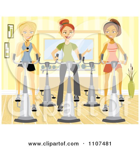 Clipart Three Happy Women Using Spin Bikes At The Gym - Royalty Free Vector Illustration by Amanda Kate