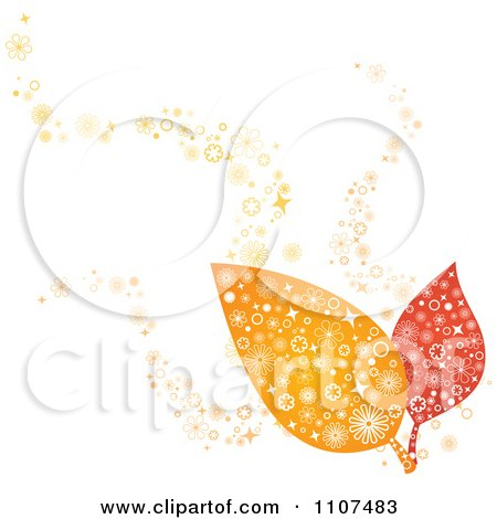 Clipart Two Autumn Leaves With Flower Designs - Royalty Free Vector Illustration by Amanda Kate