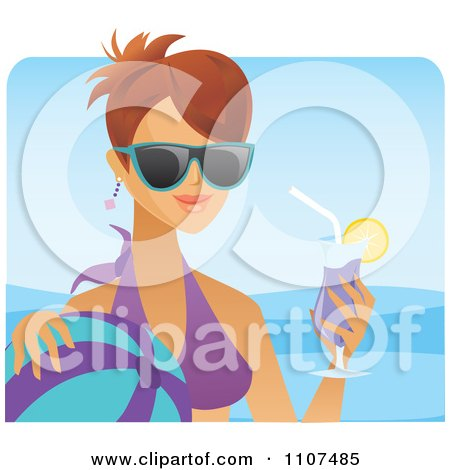 Clipart Happy Brunette Woman With A Cocktail Sunglasses And Ball On A Beach - Royalty Free Vector Illustration by Amanda Kate