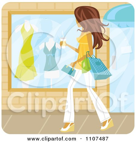 Clipart Brunette Woman Window Shopping With Coffee In Hand On A Summer Day - Royalty Free Vector Illustration by Amanda Kate