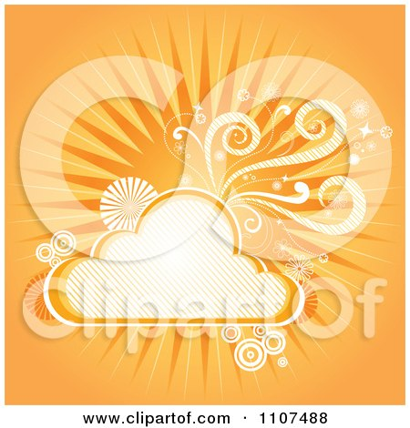 Clipart Orange Background Of Sunshine Swirls And A Cloud - Royalty Free Vector Illustration by Amanda Kate