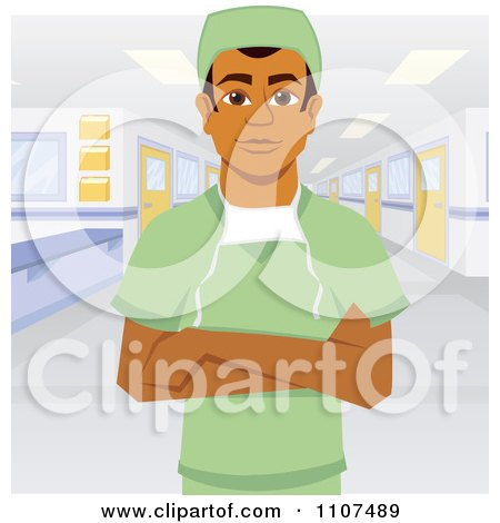 Clipart Male Indian Surgeon In Scrubs With Folded Arms In A Hospital - Royalty Free Vector Illustration by Amanda Kate