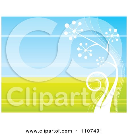Clipart Retro White Plant Growing Over Green And Blue - Royalty Free Vector Illustration by Amanda Kate