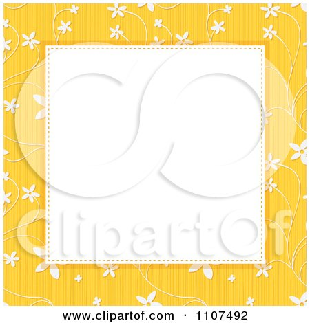 Clipart Textured Yellow Floral Background Frame With Copyspace - Royalty Free Vector Illustration by Amanda Kate