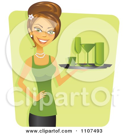 Clipart Happy Brunette Cocktail Waitress Decked Out In Green For St Patricks Day - Royalty Free Vector Illustration by Amanda Kate