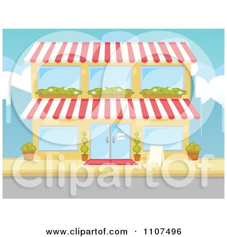 Clipart Two Story Building Facade With Window Planters - Royalty Free Vector Illustration by Amanda Kate
