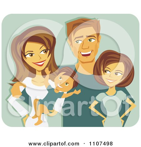 Clipart Happy Caucasian Mother And Father With A Baby And Teenager Over Green - Royalty Free Vector Illustration by Amanda Kate