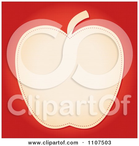 Clipart Beige Apple With Seams On Red - Royalty Free Vector Illustration by Amanda Kate