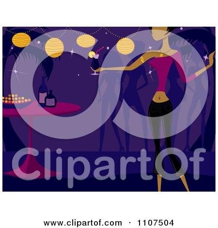 Clipart Women Dancing At A Tiki Party Bar - Royalty Free Vector Illustration by Amanda Kate