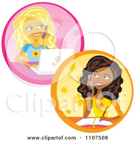 Clipart Teenage Girls Talking On Cell Phones Writing And Using A Laptop - Royalty Free Vector Illustration by Amanda Kate