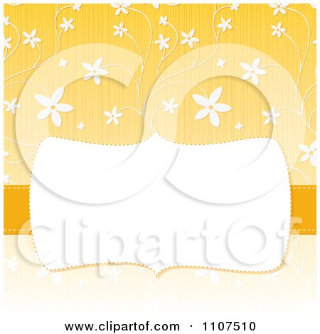 Clipart Retro Frame With Copyspace Over A Textured Yellow And White Floral Pattern - Royalty Free Vector Illustration by Amanda Kate