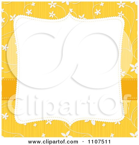 Clipart Square Frame With Copyspace Over A Textured Yellow And White Floral Pattern - Royalty Free Vector Illustration by Amanda Kate