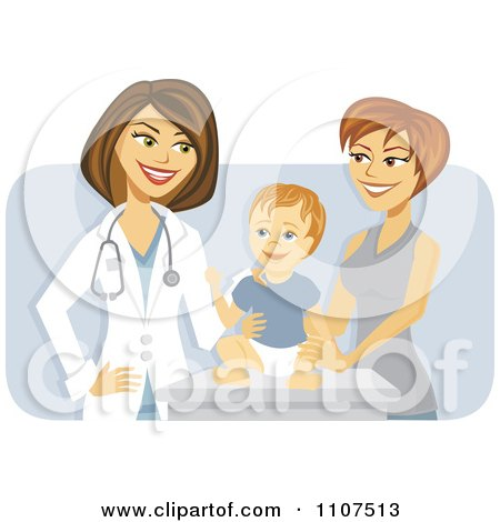 Clipart Happy Female Pediatric Doctor With A Baby Boy And Mom Over Purple - Royalty Free Vector Illustration by Amanda Kate