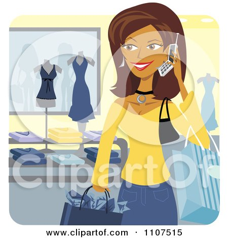 Clipart Happy Hispanic Woman Talking On A Cell Phone While Shopping In A Store - Royalty Free Vector Illustration by Amanda Kate