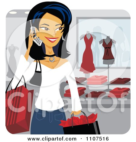 Clipart Happy Asian Woman Talking On A Cell Phone While Shopping In A Store - Royalty Free Vector Illustration by Amanda Kate