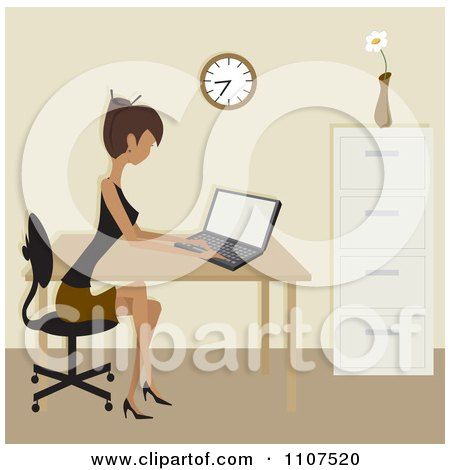Clipart Woman Working On A Laptop In An Office - Royalty Free Vector Illustration by Amanda Kate