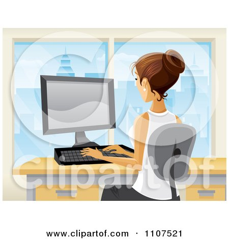 Clipart Brunette Businesswoman Working At Her Desk In A City Office 1 - Royalty Free Vector Illustration by Amanda Kate