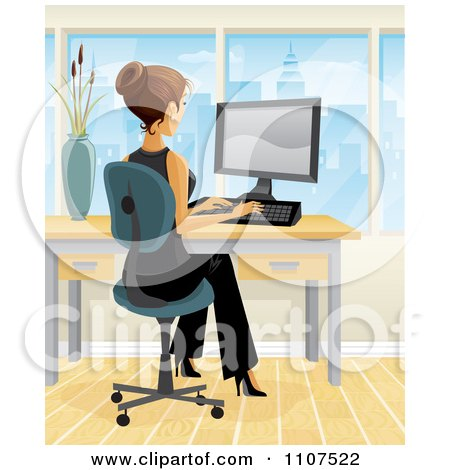 Clipart Brunette Businesswoman Working At Her Desk In A City Office 2 - Royalty Free Vector Illustration by Amanda Kate