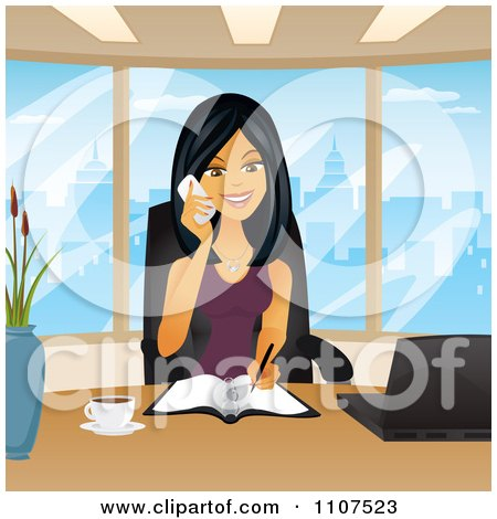 Clipart Happy Asian Businesswoman Taking Notes And Talking On A Phone In Her City Office - Royalty Free Vector Illustration by Amanda Kate