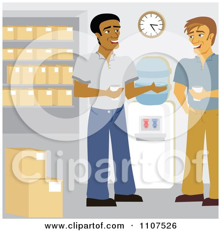 Clipart Male Warehouse Workers Talking By The Water Cooler - Royalty Free Vector Illustration by Amanda Kate