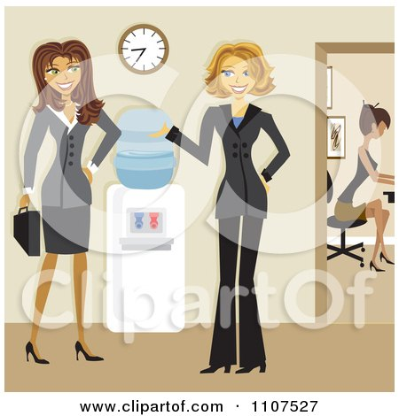 Clipart Friendly Businesswomen Talking By A Water Cooler In An Office - Royalty Free Vector Illustration by Amanda Kate