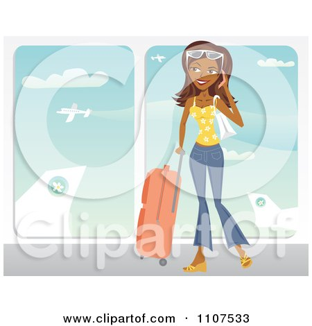 Clipart Happy Traveling Indian Woman Talking On Her Cell Phone At An Airport - Royalty Free Vector Illustration by Amanda Kate