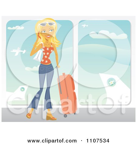Clipart Happy Traveling Blond Woman Talking On Her Cell Phone At An Airport - Royalty Free Vector Illustration by Amanda Kate
