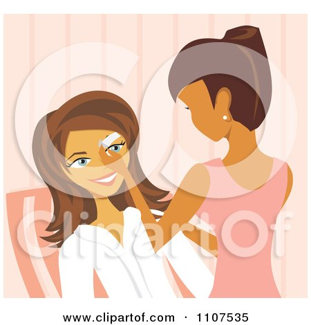 Clipart Woman Waxing A Clients Eyebrows In A Salon - Royalty Free Vector Illustration by Amanda Kate