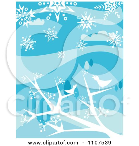 Clipart Winter Birds Chirping In Bare Tree Branches In The Snow - Royalty Free Vector Illustration by Amanda Kate