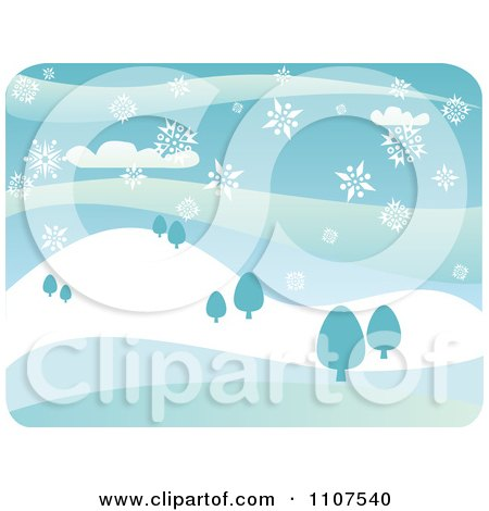 Clipart Snow Falling Over A Hilly Winter Landscape With Trees - Royalty Free Vector Illustration by Amanda Kate