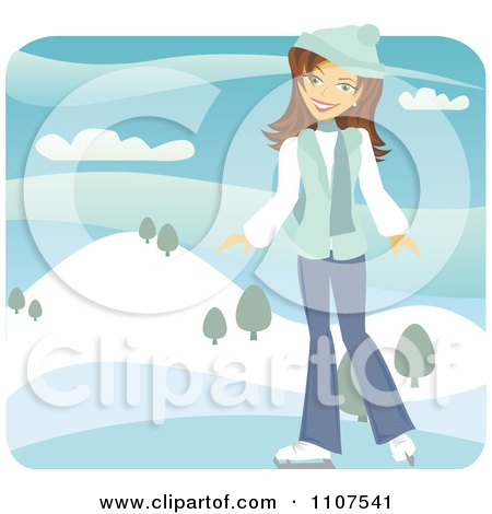 Clipart Happy Brunette Girl Ice Skating Outdoors On A Frozen Pond - Royalty Free Vector Illustration by Amanda Kate