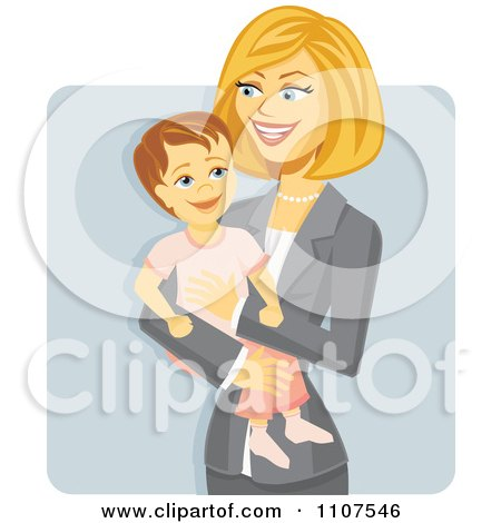 Clipart Happy Working Businesswoman Mom Holding Her Daughter Over Gray - Royalty Free Vector Illustration by Amanda Kate