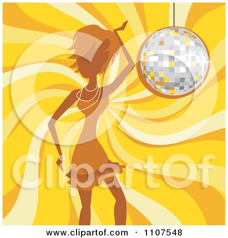 Clipart Woman Dancing Over A Yellow Swirl And A Disco Ball - Royalty Free Vector Illustration by Amanda Kate
