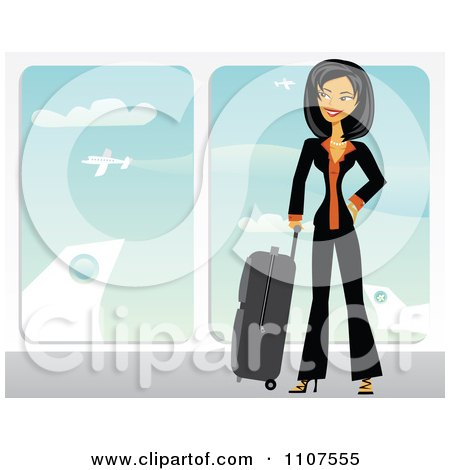 Clipart Happy Traveling Asian Businesswoman With Her Luggage In An Airport - Royalty Free Vector Illustration by Amanda Kate