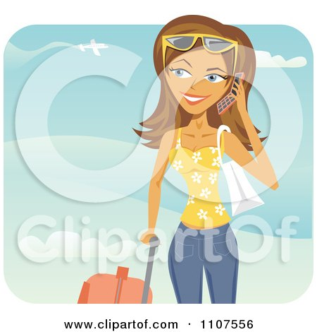 Clipart Happy Traveling Woman Talking On Her Cell Phone At An Airport - Royalty Free Vector Illustration by Amanda Kate