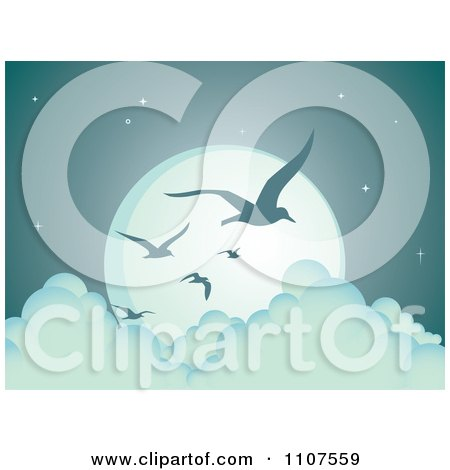 Clipart Flying Seagulls Silhouetted Against A Full Moon Above The Clouds - Royalty Free Vector Illustration by Amanda Kate