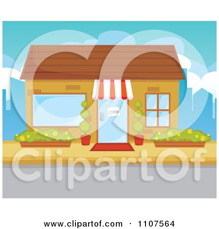 Store Doors Clipart clipart store front facade with an open sign in the door - royalty