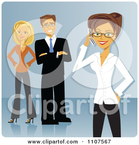 Clipart Businesswoman Talking On A Cellphone With Her Colleagues In The Background Over Blue - Royalty Free Vector Illustration by Amanda Kate