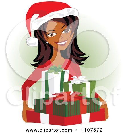 Clipart Happy Indian Woman Carrying Christmas Presents And Wearing A Santa Hat - Royalty Free Vector Illustration by Amanda Kate