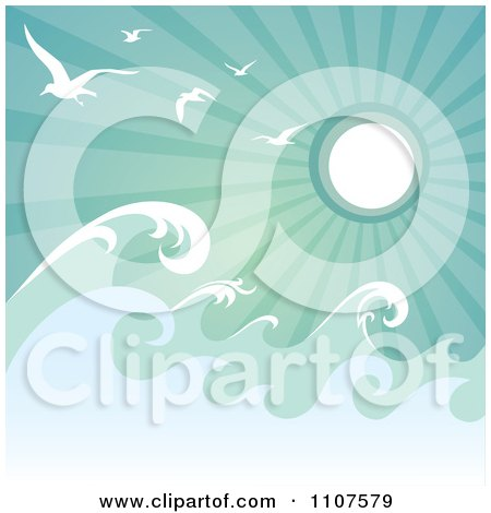 Clipart Rough Ocean Waves And Gulls Against Green Sun Rays - Royalty Free Vector Illustration by Amanda Kate