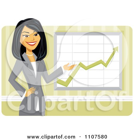Clipart Happy Asian Businesswoman Discussing Company Growth Statistics - Royalty Free Vector Illustration by Amanda Kate