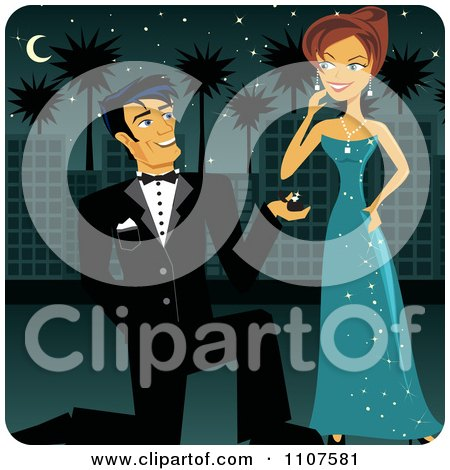 Clipart Handsome Man In A Tuxedo Kneeling To Propose To A Beautiful Woman In A Teal Dress Royalty Free Vector Illustration
