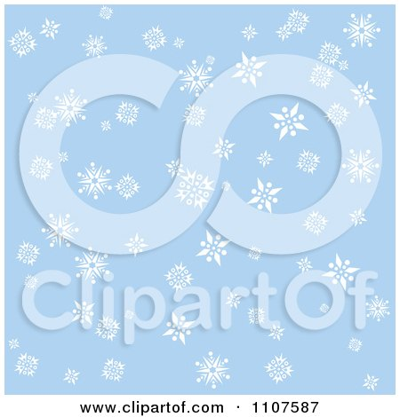 Clipart Background Of Falling Snowflakes On Blue - Royalty Free Vector Illustration by Amanda Kate