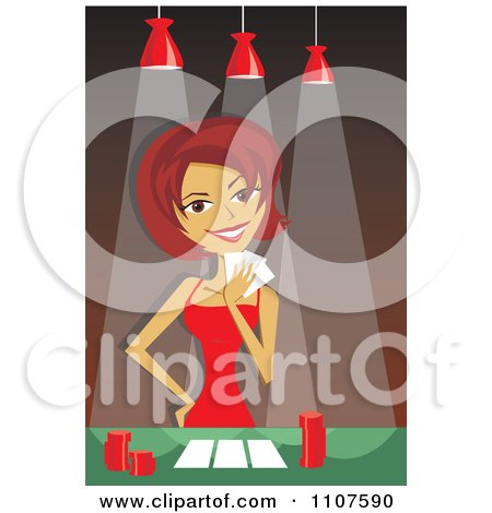 Clipart Woman Putting On Her Poker Face While Playing A Game - Royalty Free Vector Illustration by Amanda Kate