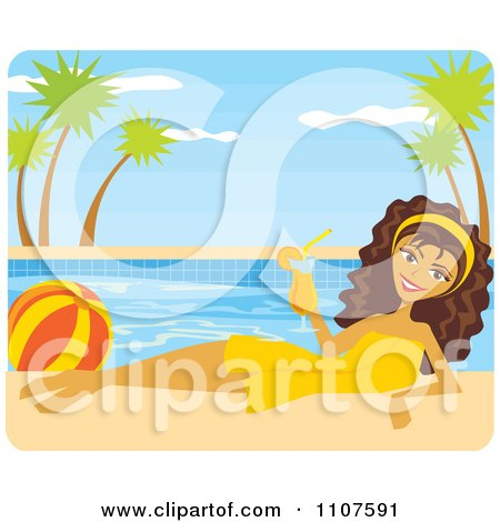 Clipart Poolside Brunette Woman With A Beach Ball And Cocktail - Royalty Free Vector Illustration by Amanda Kate