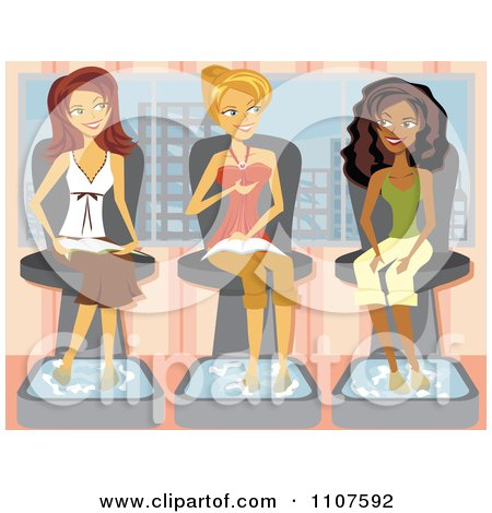 Clipart Three Girlfriends Talking And Getting Pedicures In A Salon - Royalty Free Vector Illustration by Amanda Kate