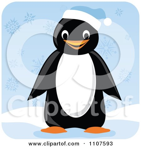 Clipart Happy Penguin Wearing A Blue Winter Cap In The Snow - Royalty Free Vector Illustration by Amanda Kate