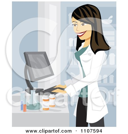 Clipart Happy Brunette Pharmacist Using A Computer - Royalty Free Vector Illustration by Amanda Kate