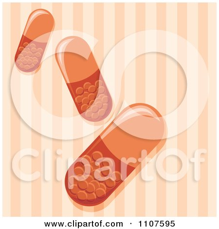 Clipart Pill Capsules Over Orange Stripes - Royalty Free Vector Illustration by Amanda Kate